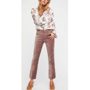 Free People Velvet Rose High Rise Crop Flare Pants